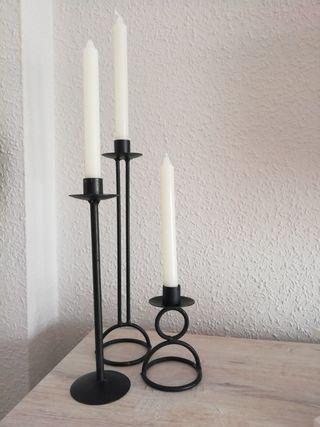 3 candelabros + velas