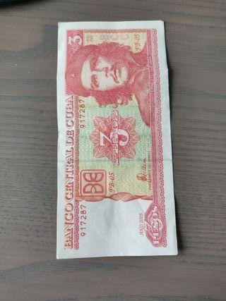 billete 3 pesos cubanos del Che