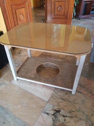 Mesa camilla con cristal