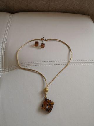 conjunto colgante y pendientes cristal de Murano