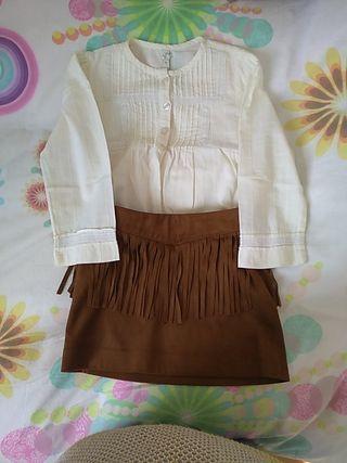 conjunto falda y camisa niña