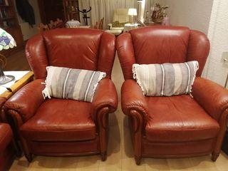 sofá+dos sillones(todo piel)+mesa