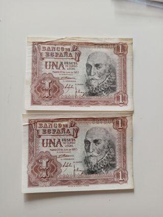 Pareja correlativa 1 peseta 1953. Billete antiguo