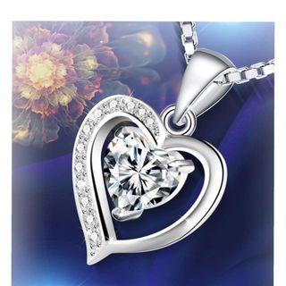 collar plata de ley corazón zirconita