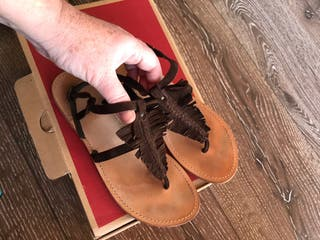 Sandalias de piel ante Marrón