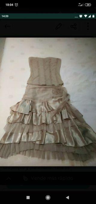 Vestido de fiesta dos puezas, corpiño y falda