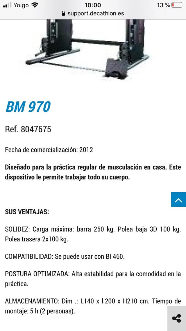 Estación de musculación Domyos bm 970 de segunda mano por 400 € en Lloret de Mar en WALLAPOP