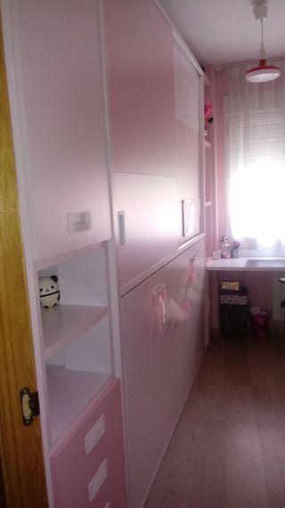 Dormitoro juvenil de niña con cama abatible