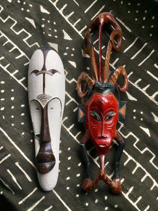 Lote 2 máscara africana Fang y máscara Guro