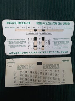 REGLA DE CALCULO Temperatura - Humedad 1980