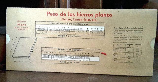 Calculadora de Reglilla Núm. 6 Hierros planos
