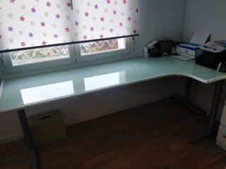 Mesa Despacho Cristal templado y acero