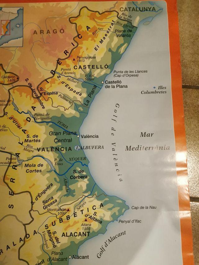 Mapa Fisico Comunitat Valenciana.Mapa Fisico Comunidad Valenciana De Segunda Mano Por 20 En Puerto De Sagunto En Wallapop