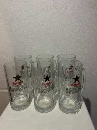 6 Jarras de cerveza Estrella Damm
