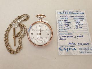Reloj con cadena de plata maciza antiguo