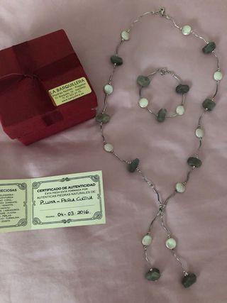 Collar y pulsera piedra luna y perlas SIN ESTRENAR