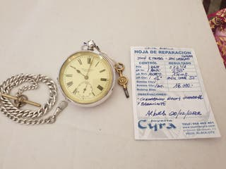 Reloj con cadena de plata maciza antiguo de llave