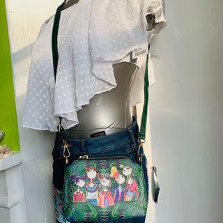 Green brand new cross body bag