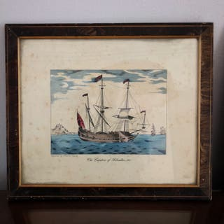 Pareja de grabados antiguos pintados a mano