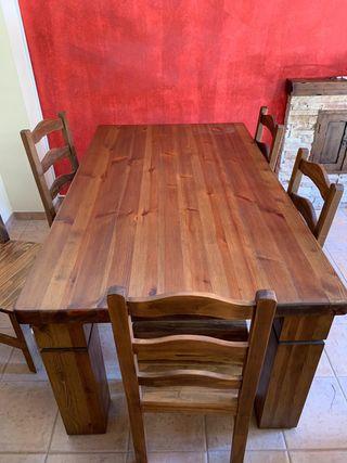 Mesa salón madera maciza y 6 sillas