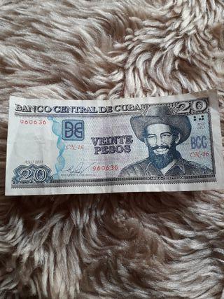 billete de 20 peso cubano