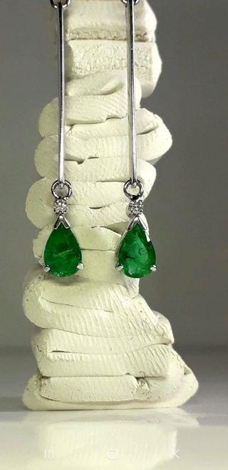 pendientes oro diamantes y esmeraldas