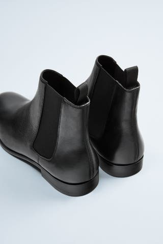 botines negros piel zara