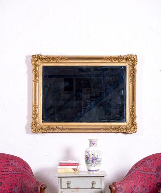 Espejo Antiguo Dorado Y Biselado