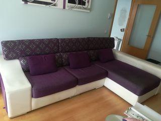 Sofá chaise longe con canapé + colchón cama 150