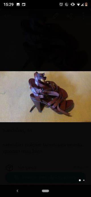 sandalias polipiel tacón