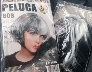 peluca NUEVA Blanca y Negra
