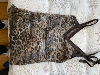 Camiseta leopardo lentejuelas talla L