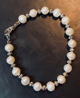 Pulsera arabe de perlas naturales y plata de ley