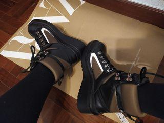 botas militares piel cuero zara