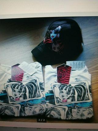 2 camisetas Monster High + gorra