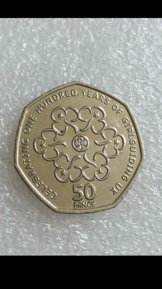 50p coin the girl guides . 2010.
