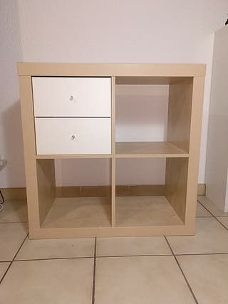 Étagère, effet chêne blanchi, 77x77 cm, plus bloc