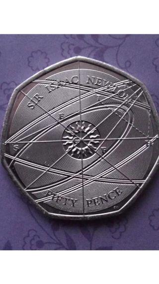 50p coin sir Isaac Newton 2017.
