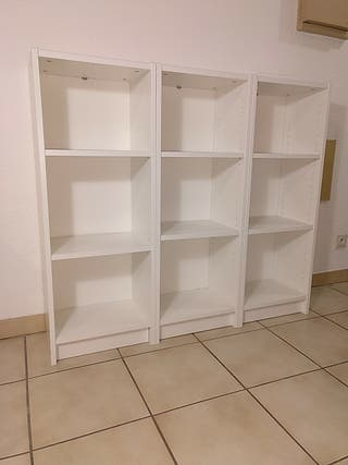 Bibliothèque, blanc, trois modules de 40x28x106 cm