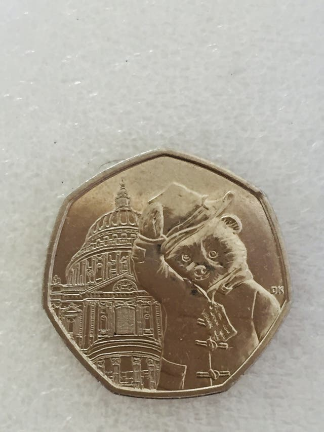 50p coin Paddington bear at St. Paul's. 2019.