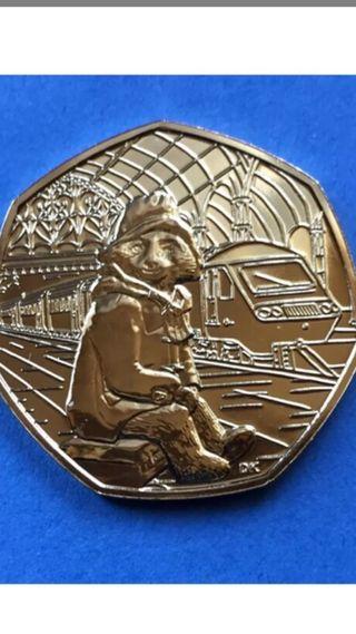 50p coin Paddington bear at the train station 2018