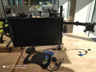 2 Monitores Full HD + Brazo + Ratón y Teclado