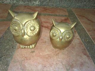 figuras búhos de bronce antiguos