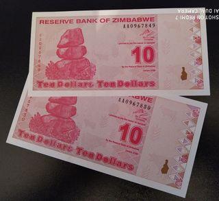 Billetes de Zimbabwe.