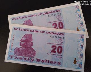 Billetes de Zimbabwe