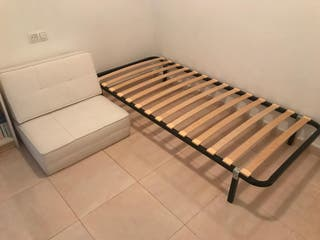 sillón cama bajo piel blanco