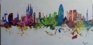 Skyline colorido de tu ciudad preferida