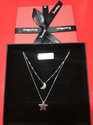 collar doble estrella- luna plata 925