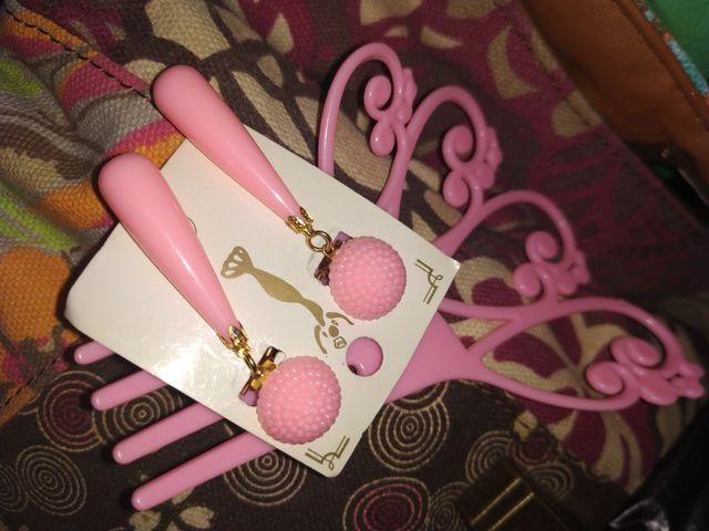 Pendientes y peina nuevos niña flamenca rosa