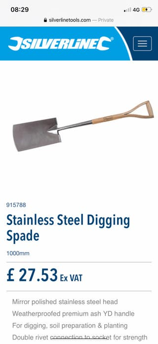 Stainless Steel Digging Spade | NEW